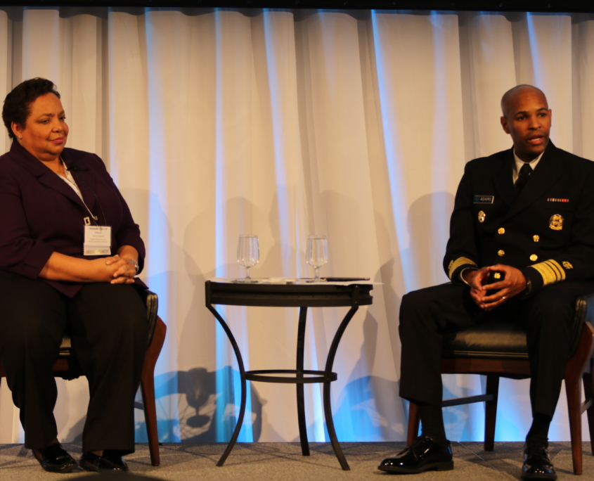 Cheryl J. Roberts, Deputy Director of Programs, Virginia Department of Medical Assistance Services, and US Surgeon General, Vice Admiral Jerome M Adams, MD, MPH