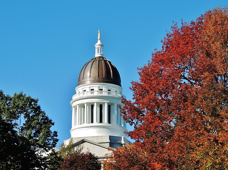 Maine statehouse dome in Augusta